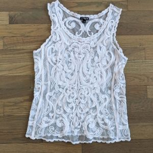 Express Baroque Light Pink Lace Tank Top